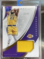 Lebron James 2018-19 Immaculate Remarkable Game Used Patch 23/49 Rare Jersey