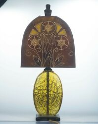 Antique Art Deco Crackle Glass Table Lamp With Mica Decorated Lamp Shade