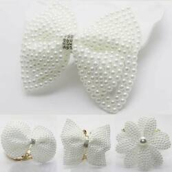1pc White Pearl Hair Bows With Hair Clips Girls Kids Boutique Layers Bling