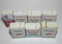 Lot Of 7 Antique Vintage Advertising Old Spice Tins Durkee Schilling French's