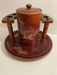 Vintage Humidor 1940's Brown Asian Tobacco Stand Pipe Stand