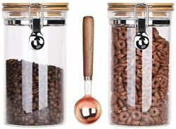 Clear Glass Storage Containers With Airtight Locking Clamp Bamboo Lids, Glass