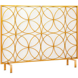 40.9 X 31'' Fireplace Screen Single Panel Wrought Iron Fire Spark Guard Cover Gd