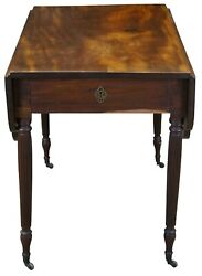 Antique Federal American Mahogany Drop Leaf Dining Breakfast Console Table 36