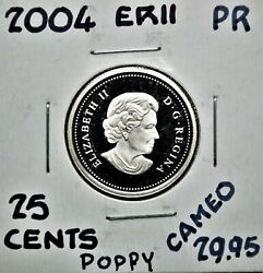Poppy - 2004 Canada Sterling Silver 25 Cents - Proof Struck