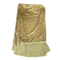 Jc Penney Discontinued Pair Luxury Curtains Panels Drapes Gold Fringe X Wide 82