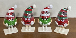 Lot Of 4 Mars Inc Mandm Candy Christmas Red Green Figure Toy Collectable Ornament
