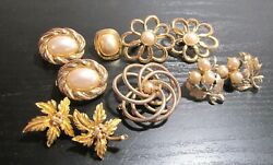 Vintage Jewelry For Parts Or Repair Ten 10 Assorted Vintage Antique Rhinestone