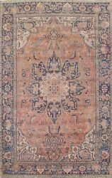 Antique Heriz Hand-knotted Area Rug Geometric Oriental Wool Large Carpet 10'x13'