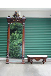 Fabulous Large Walnut Victorian Pier Mirror With Marble Top Base Ca.1870