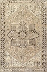 Antique Muted Geometric Heriz Hand-knotted Area Rug Dining Room Oriental 10and039x13and039