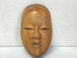 Y3113 Noh Mask Wood Carving Young Girl Ko-omote Japan Antique Dance Drama