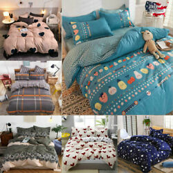 4Pcs Bedding Set Soft Duvet Cover Set for Comforter with Pillowcases King Queen