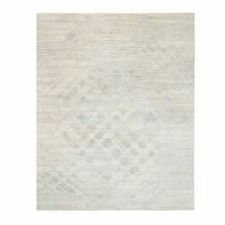 8and0391x10and039 Undyed Natural Wool Hand Knotted Ivory Modern Design Rug R63370