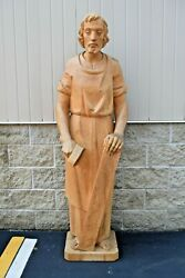 Large Life Sized Wood Carved Statue Of St. Joseph 71 Ht. 6and039 Tall + Cu220