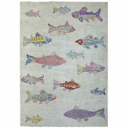 9and039x11and0398 Hand Made Oceanic Colorful Fish Design Wool Afghan Peshawar Rug R69468