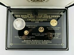 1994 Princess Kaiulani Silver And Gold 4-piece Proof Set Pre-owned No 725/950
