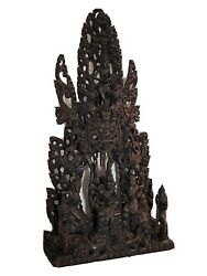 Huge Asian Chinese Wood Carved Temple Shrine 29 Maidens Dragons Goddess Statue