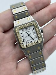 Santos Galbee 29mm Stainless Steel And Yellow Gold Diamond Bezel Free Ship
