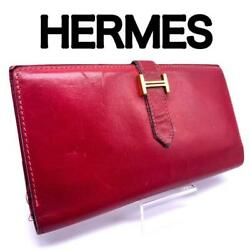 Authentic Hermes Bearn Wallet - Soft Buttery Roman Red And Gold Hardware Used