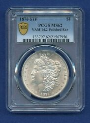 1878 P 8tf Pcgs Ms62 Morgan Dollar Ms-62 8 Tail Feather Vam 14.2 Polished Ear