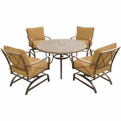 Summer Nights 5pc Dining Set 4 Steel Rockers With 48 Cast Table - Tan