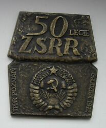 Poland Polish 50 Years Of The Ussr Cccp Soviet Russia Huge Medal Plaque
