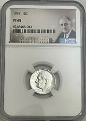 1957 Ngc Pf68 90 Proof Silver Roosevelt Dime 10c Great Eye Appeal Uncirculated