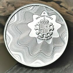 2017 The Royal Mint 'off-center Shield' 1 Oz .999 Optical Illusion Silver Round