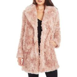 Kendall + Kylie Womenand039s Curly Faux Fur Mid-length Jacket With Notch Collar