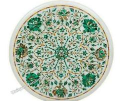 Marble Dining Center Round Table Top Malachite Inlaid Floral Housewarming Gift
