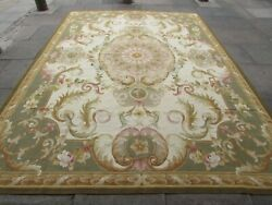 Vintage Hand Made French Design Wool Green Gold Original Aubusson 367x269cm