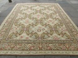Vintage Hand Made French Design Wool Green Brown Original Aubusson 351x284cm