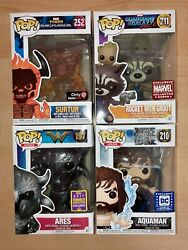 Funko Pop Rocket With Groot, Surtur, Aquaman, Ares, Exclusives, With Protectors