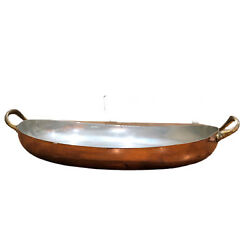 Vintage Douro B And M Oval Copper Skillet Brass Handles Casserole Pan Portugal