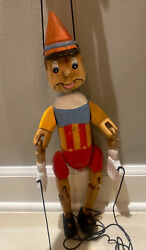 """Vintage Carved Wood Wooden Marionette Puppet Pinocchio Hand Painted 16.5"""""""