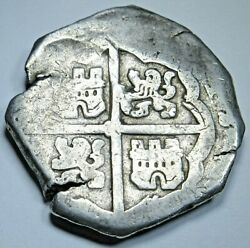 1625-1664 Spanish Silver 4 Reales Genuine Antique Colonial 1600s Pirate Cob Coin