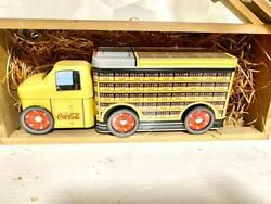 Coca-cola Retro Delivery Truck Cans Wooden Box Set Vintage Tin Toy Can