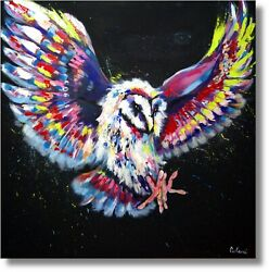 Bird Owl Painting Art Acrylic Painting Wall Picture Handmade Type Nr.1155
