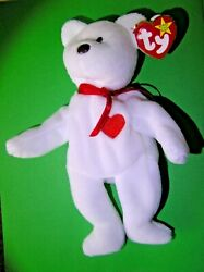Very Rare Mint New With Tags Valentino Ty Beanie Bear White Retired 1994 Errors