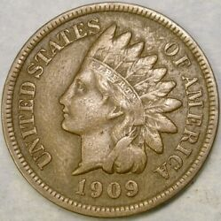 1909 S Indian Head Cent/penny Very Scarce Semi Key Date Appealing Bold Features