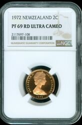 1972 New Zealand 2 Cents Ngc Pf 69 Rd Ultra Cameo Finest Known Gem Proof