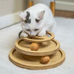 Roller Cat Toy By 7 Ruby Road - Double Layer Wooden Track Balls Turntable Andndash I...