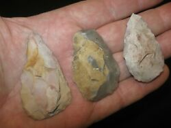 3 Authentic Central Texas Prehistoric Flint Tools Ancient Indian Artifacts Gt1