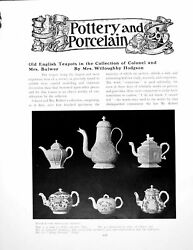 Antique Old Print English Teapots Collection Colonel Mrs Bulwerpages 1920