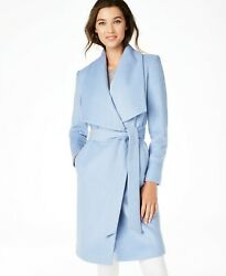 Cole Haan Womens Belted Wrap Coat Size 14 Blue Ice