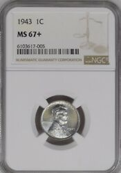 1943 1c Lincoln Wheat One Cent Ngc Ms67+   6103617-005