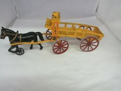 Vintage Cast Iron Horse And Carriage Dray Old Toy 736-
