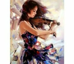 Lady Playing Violin Diamond Painting Abstract Style Design Embroidery Decoration