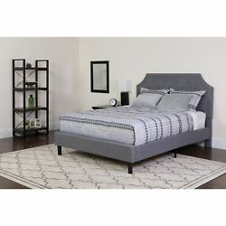 Reno Full Size Light Grey Fabric Platform Bed With Button Light Grey Full
